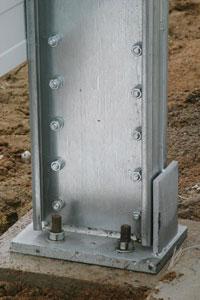 Фото 3. Опорные базы для колонн каркасов из ЛСТК