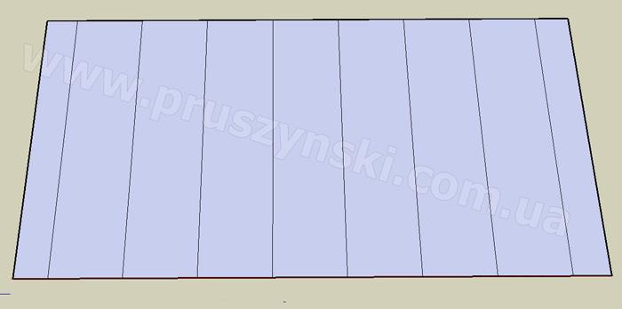 Рис. 1. Расположение кровельных панелей на скате крыши