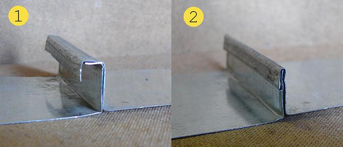 Фото 1. Картины металла, подготовленные для фальцевания. 2. Вертикальный фальц