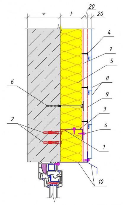Решение узла над окном (дверью) здания при обшивке PS-панелями горизонтально с утеплением