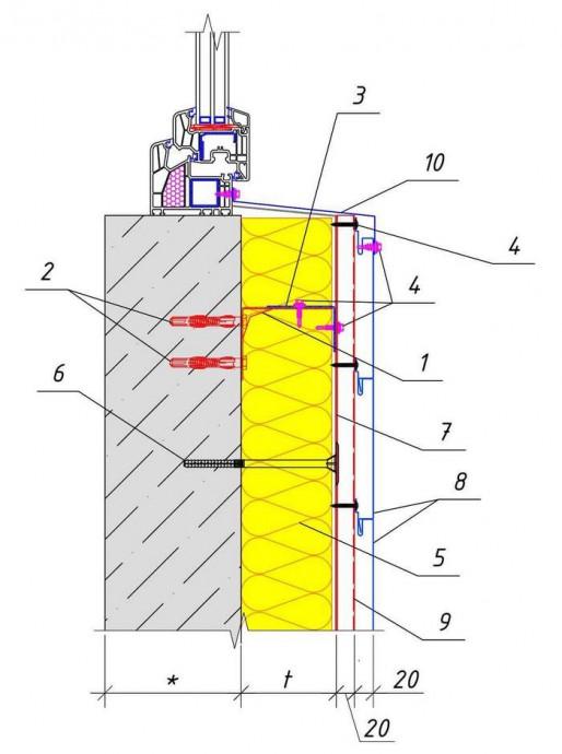 Решение узла под окном (Вариант-2) здания при обшивке PS-панелями горизонтально с утеплением