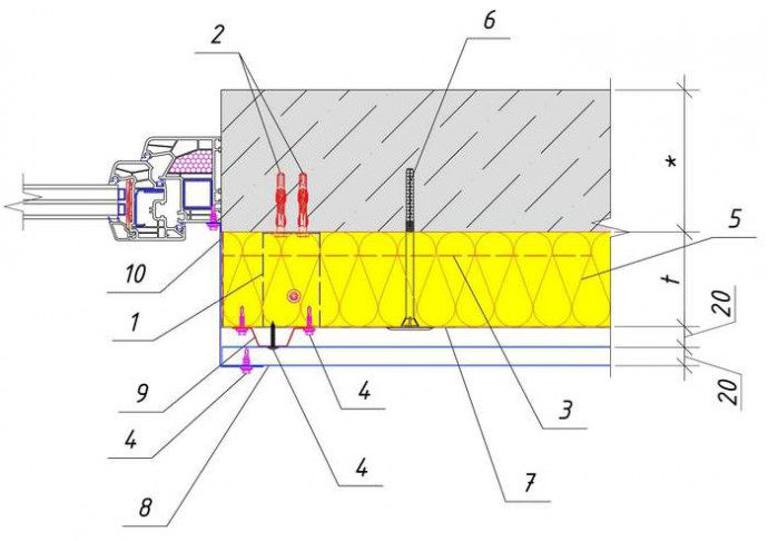 Решение узла сбоку окна (двери) здания при обшивке PS-панелями горизонтально с утеплением